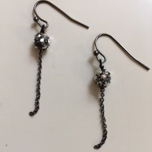 Jewelry - Faux crystal ball and chain pierced earrings